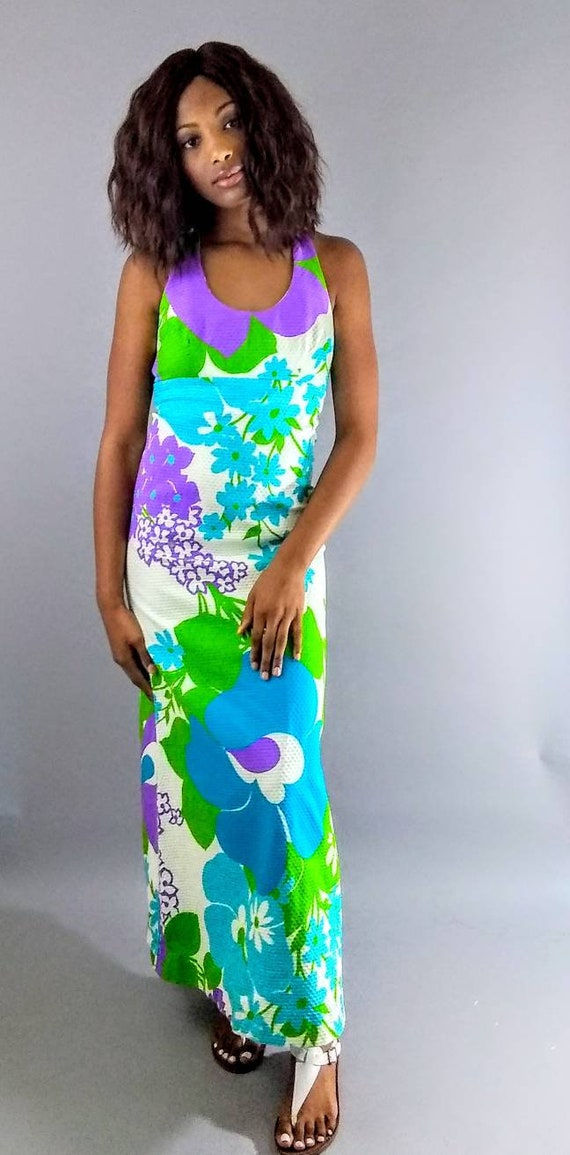 Vintage Malia 70s maxi floral dress. - image 6