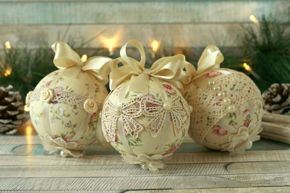 Christmas Decorations Handmade.Shabby Chic Christmas Decorations Handmade Christmas Baubles Lace Ornaments Bauble Set Fabric Ornaments Shabby Chic Christmas Gifts