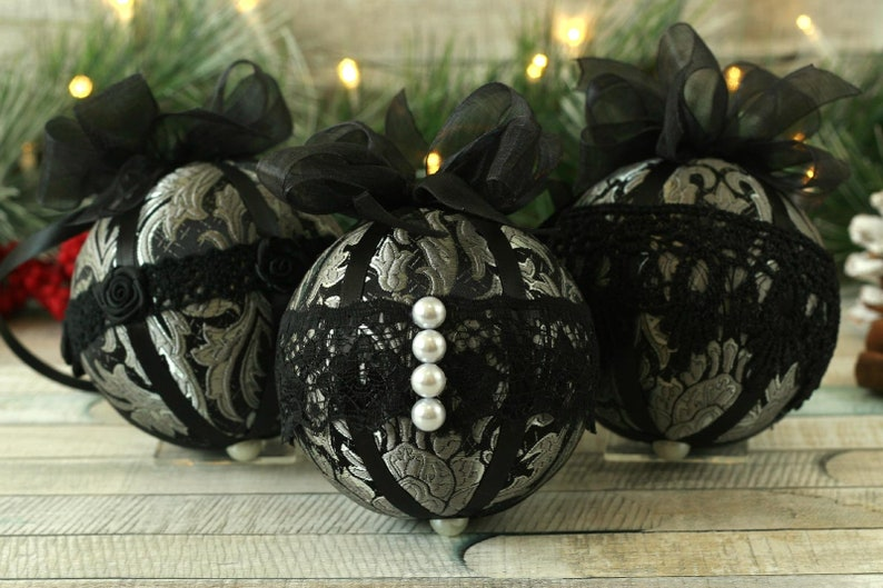 Vintage Christmas Decorations Handmade Lace Baubles Fabric Ball Tree Decor Black Gothic Gift