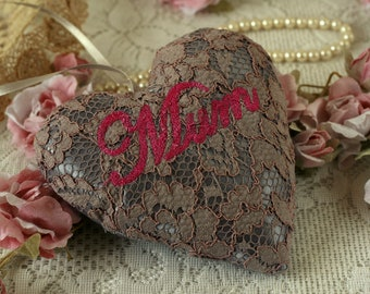 Embroidered heart, Mothers day heart gift, Mum decoration, hanging heart decoration, heart gift for Mum, stuffed heart, fabric hanging heart