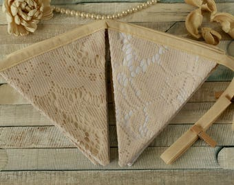 Lace bunting, boho wedding decor, lace runner, fabric banner, lace garland, vintage weddings, autumn wedding, wedding bunting, vintage party