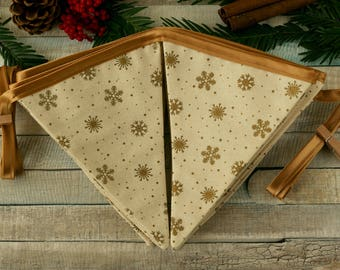 Christmas bunting, holiday banner, Christmas mantel, Christmas flags, Christmas party decoration, gold Christmas decor,  holiday decorations