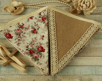 Floral bunting, burlap banner, fabric garland, chic home decorations, vintage wedding, cottage chic bunting, pink floral, cream lace banner