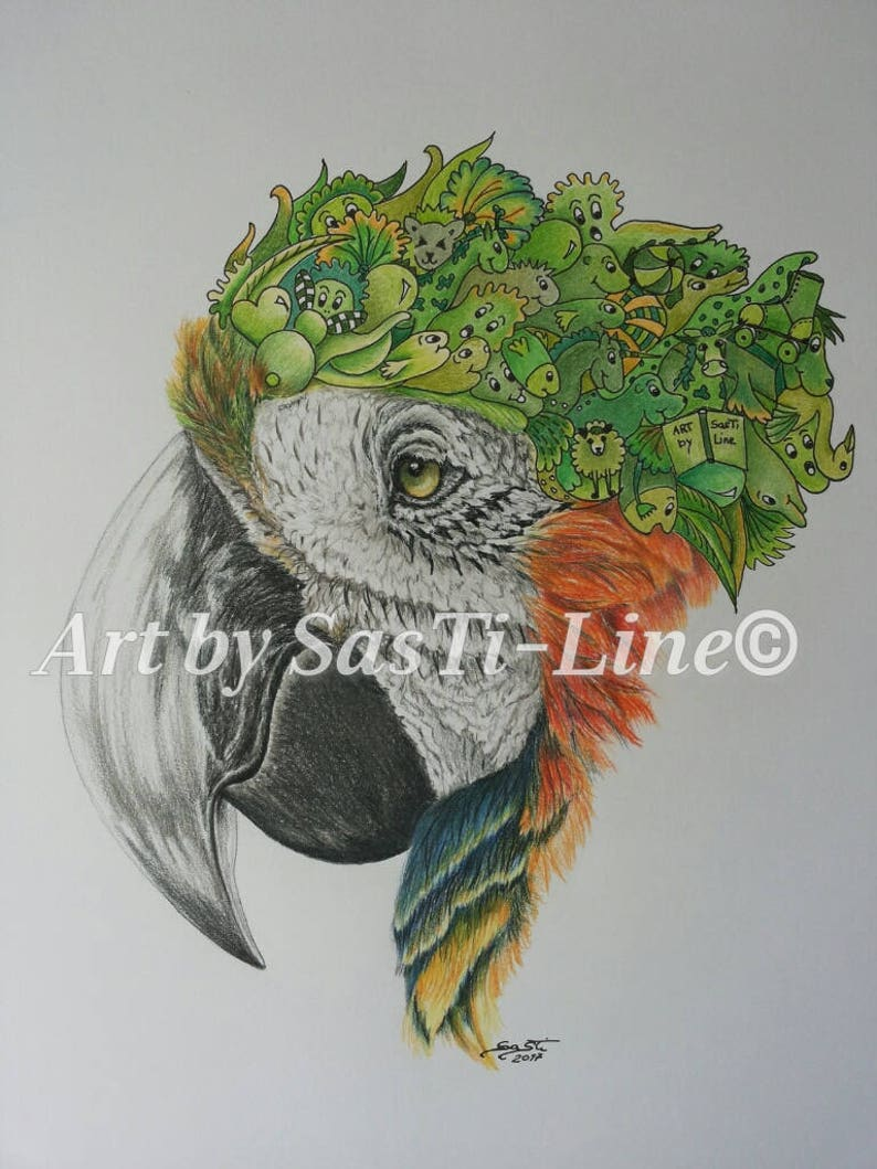 outlet store bb2f2 8aef9 ARA-Doodles, limited edition, Doodle Art, pictures, drawing, surreal,  coloured, animals, print, parrot