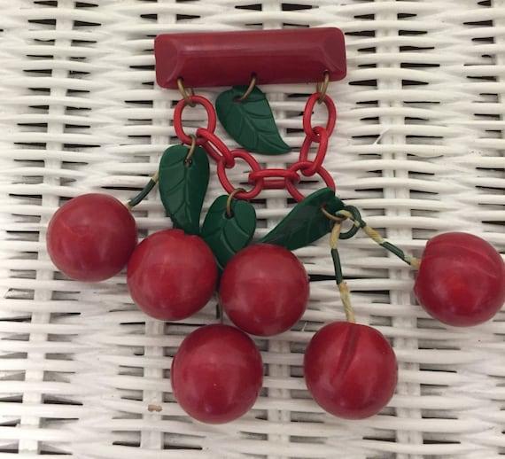 Rare Vintage Bakelite Cherries Brooch