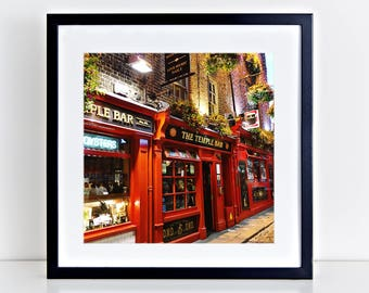 The Temple Bar Pub  | Dublin | Pubs of Ireland | Travel Photography | Irish Decor | Bar Art | Gallery Wall | Square Photo Print