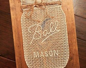 Mason Jar String Art Etsy