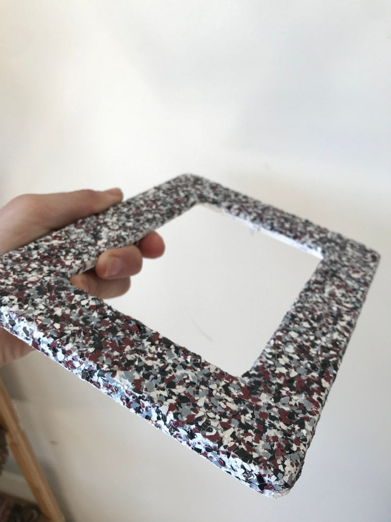 Gloss Finish Color Flaked Textured Wooden Frame with Stand Red Black White Grey Colored