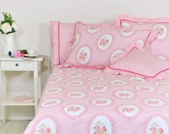 Pink floral bedding etsy pink floral duvet cover set in full queen king size victorian rose print cotton fabric floral cottage chic bedding set ruffle pillowcases mightylinksfo