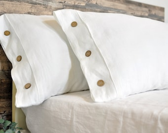 Linen Pillow Sham Stone Washed Organic Eco Pillowcase with Ties Pillow Case Slip Cover Standard Queen King Euro size Linen Pillowcase Flax