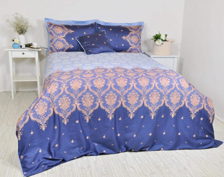 Navy Baby Blue Damask Bedding Set in Full Queen King ...