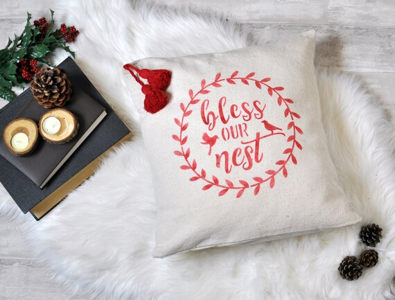 Christmas Pillow Cover, Christmas Decor, Bless Our Nest Cushion, Red  Cushion Cover, Pillows with Sayings, Housewarming Gift, Floor Pillow