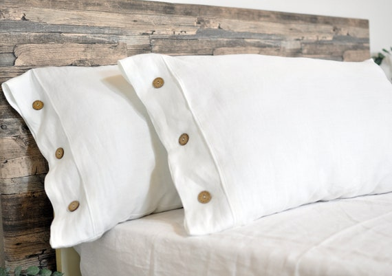 White Linen Pillowcase With Button Linen Bedding Flax Linen Etsy