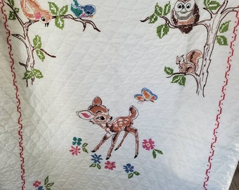 Vintage Bambi Deer Thumper Rabbit Bunny Needlepoint Cross Stitch Baby Shower Birth Announcement 1979 Paragon Pink Blue