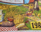 Vintage 1980s Linen Calendar Rural Scene Grain Mill Measures 26-1 4 by 15-3 4 Inches Green, Yellow, and Blue Bless this Day Our Daily Bread
