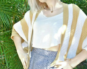 Vintage Striped Slouch Cardigan with Big White Buttons
