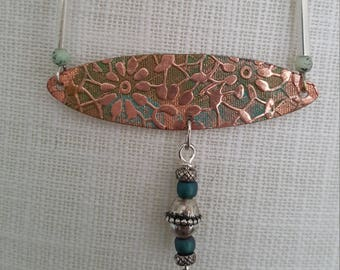 Beautiful Embossed Copper Beaded Necklace