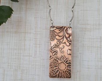Embossed Copper Silver Necklace