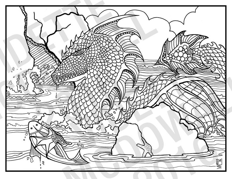 WATER DRAGON: A Printable Adult Coloring Page | Etsy