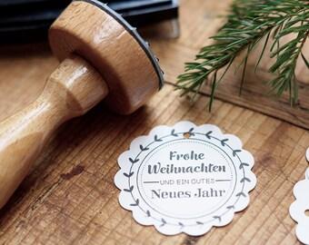 """Stamp """"Frohe Weihnachten!"""" / / text stamp / / ring / / wedding / / gift"""