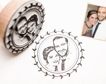 Photo stamp with your faces - Design Herzkranz