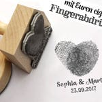 Fingerprint stamp heart//stamp personalized with your own fingerprints//wedding stamp//Desired text//name + Date