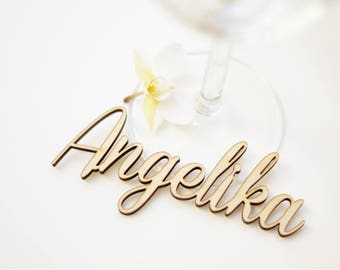 Namensschilder, Holz,  Holzschriftzug, Platzkarten, Namenskarten, Laser Cut, Tischkarten, Namensschriftzug, Namen, Hochzeit, ab 30 Stück