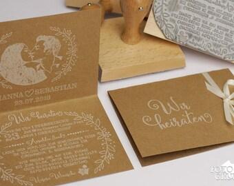 3er Stempelset Einladung Hochzeit Hochzeitsstempel Hochzeitseinladung  Maxistempel Textstempel Einladungskarte Stempel DIY (13 X 10 Cm)