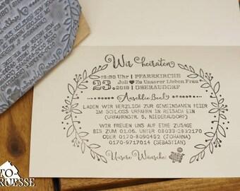 Maxi Textstempel Hochzeitseinladung (13 x 10 cm)