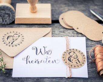 Stempelset: Fotostempel + Wir heiraten-Stempel