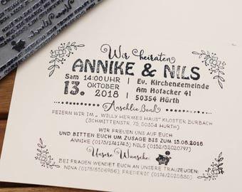 Maxi Textstempel Hochzeitsstempel Hochzeitseinladung Maxistempel  Textstempel XXL Einladung Hochzeit Einladungskarte Stempel (13 X 10 Cm)
