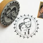Photo Stamp//stamp personalized with your photo-face//wedding stamp//Design wreath
