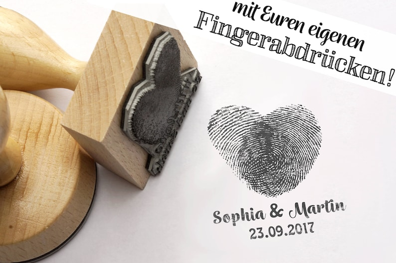 Fingerprint Stamp Heart//Stamp personalized with Your own image 0