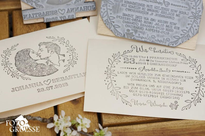 Set of 2x Wedding Invitation Stamps  Face stamp Portrait image 0