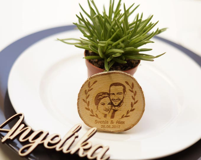 Featured listing image: Tree disc with photo-engraving - gift - weddings - from 30 units