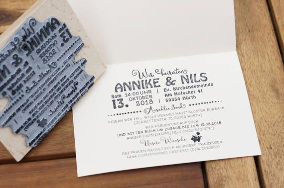 Stempel Hochzeit 4 Einladung zu unserer Hochzeit Maxi Stempel L