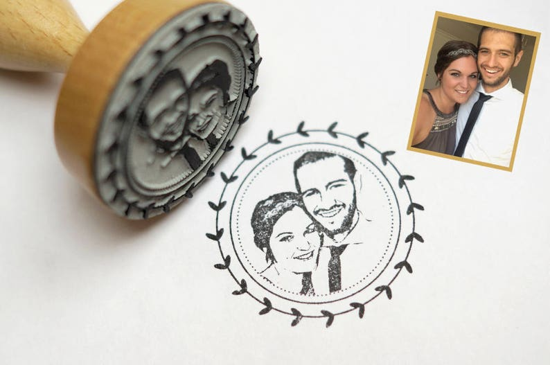 Photo Stamp//stamp personalized with your photo-face//wedding image 0