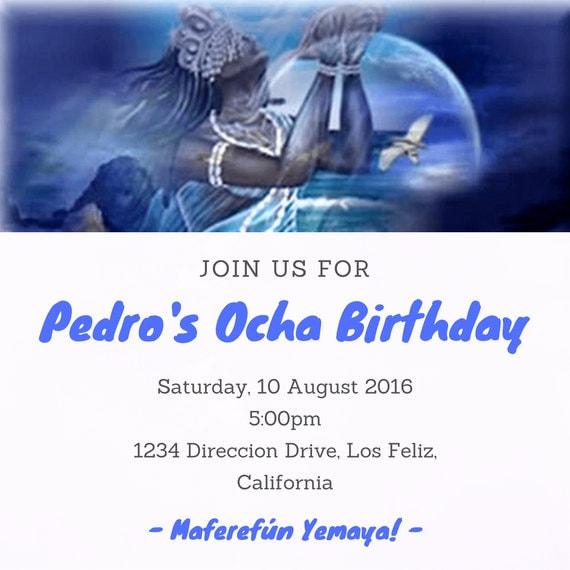 Ocha Birthday Invite Yemaya/Yemoja - Invitacion de fiesta de ocha -  Santeria Lucumi Palo Lukumi Regla de Ocha  Pre-made