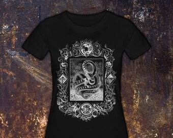 THE SERPENT - Women's T-Shirt // Garden of Eden // Snake & Heart // Apple and Dagger // Gothic Tee // Halloween Shirt
