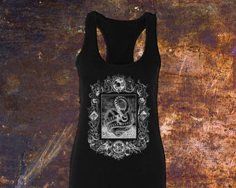 THE SERPENT - Junior's Cotton Scalloped Racerback Tank Top // Black & White // Alternative, Grunge, Gothic Fashion (Sizes Available: XS-2XL)