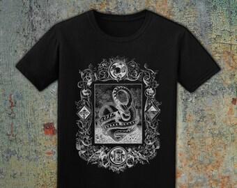 THE SERPENT - Men's Snake T-Shirt, White on Black // Alt Grunge Gothic Street Wear // 100% Cotton, Made in USA