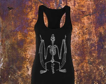 DREAD BAT - Women's Black Racerback Tank Top // Bat Skeleton // Gothic Style // Macabre // Made To Order (Sizes Available: XS-2XL)