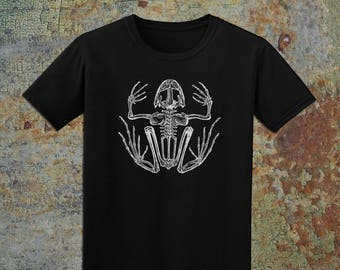 DREAD FROG - Men's Black Frog Skeleton T-Shirt, 100% Cotton, Made in USA, Eco-Friendly, Water-based Ink