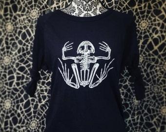 DREAD FROG - Men/Women Unisex Baseball 3/4 Sleeve T-Shirt in Black on Black with White Screenprint of a Frog Skeleton (Ready To Ship!)