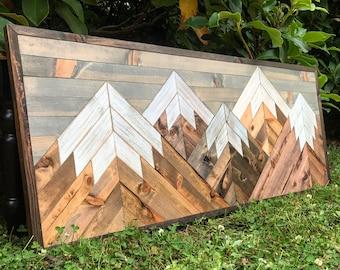Medium Five Rustic Wood Mountains Wall Art