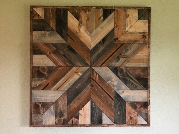 Rustic Geometric Wood Quilt Pattern Wall Art