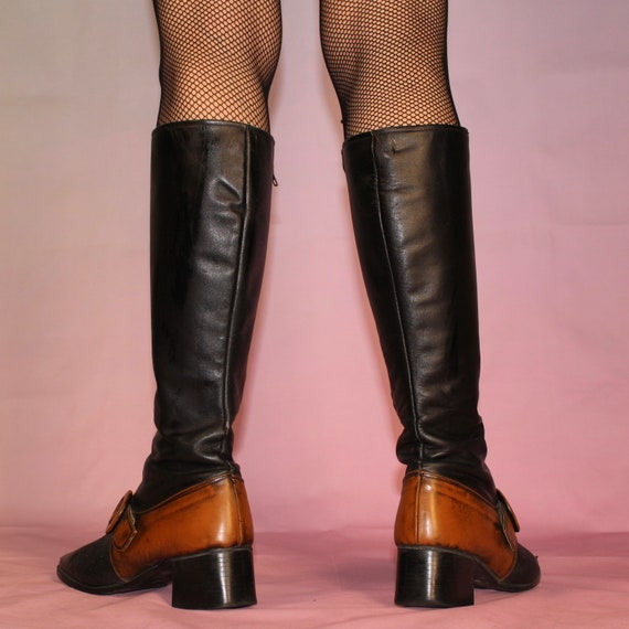 Vintage 60s two tone gogo boots size 8 - image 5