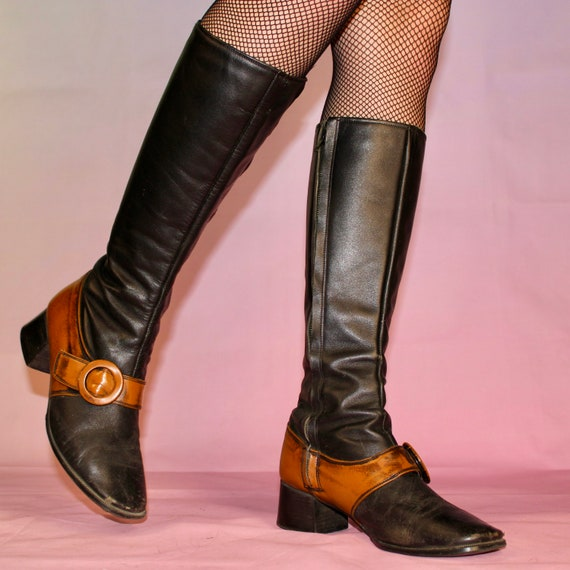Vintage 60s two tone gogo boots size 8 - image 1