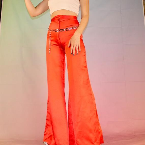 Vintage 70s red satin bell bottoms - image 3