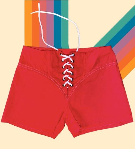 Vintage 1970's red lace up denim hot pants